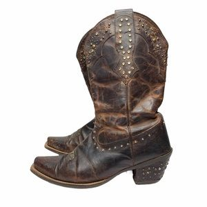 Ariat Brown Leather Cowboy Boots Size 11B Studded
